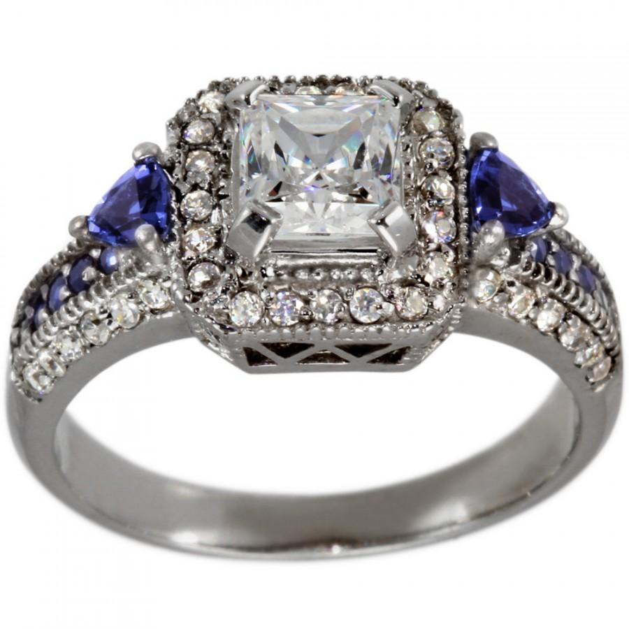 Свадьба - 3/4ct Princess Cut In Vintage Engagement Ring With Sapphire & Diamonds 0.50ctw