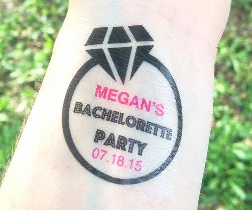 زفاف - 20 Bachelorette Party Tattoos - Bachelorette Party Favors - Engagement Ring Diamond Bachelorette Tattoos