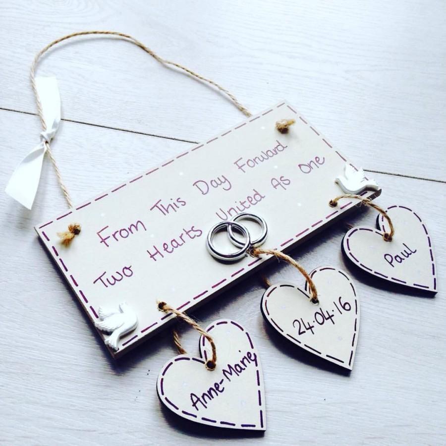 handmade bespoke wedding plaque wedding gift wedding keepsake bridal shower gift personalised free postage