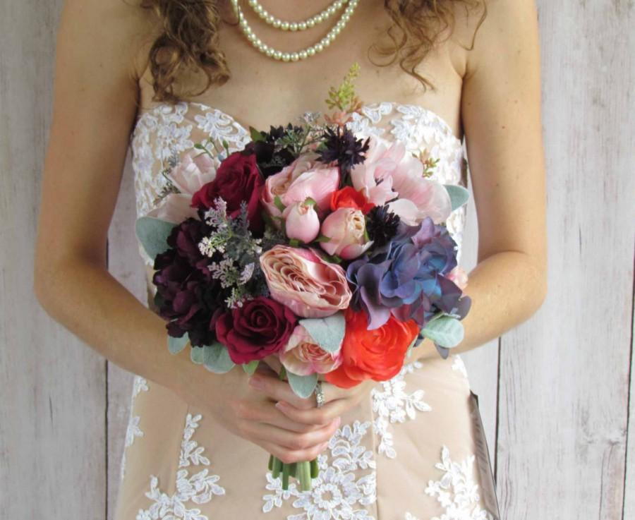 Mariage - Light Pink, Coral, and Vintage Purple Wedding Bouquet