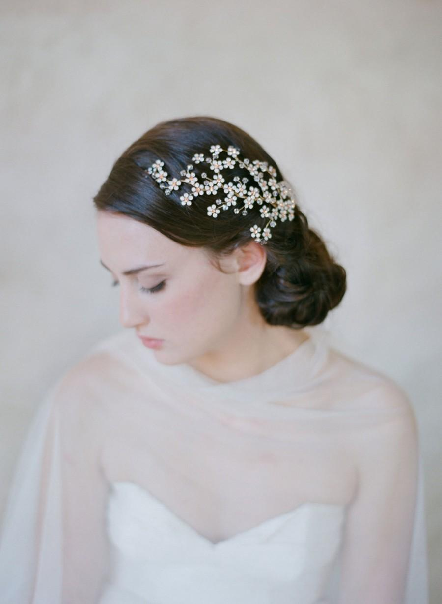 Свадьба - Bridal flower and branch hair piece - Opal flower branch headpiece - Style 505 - Ready to Ship