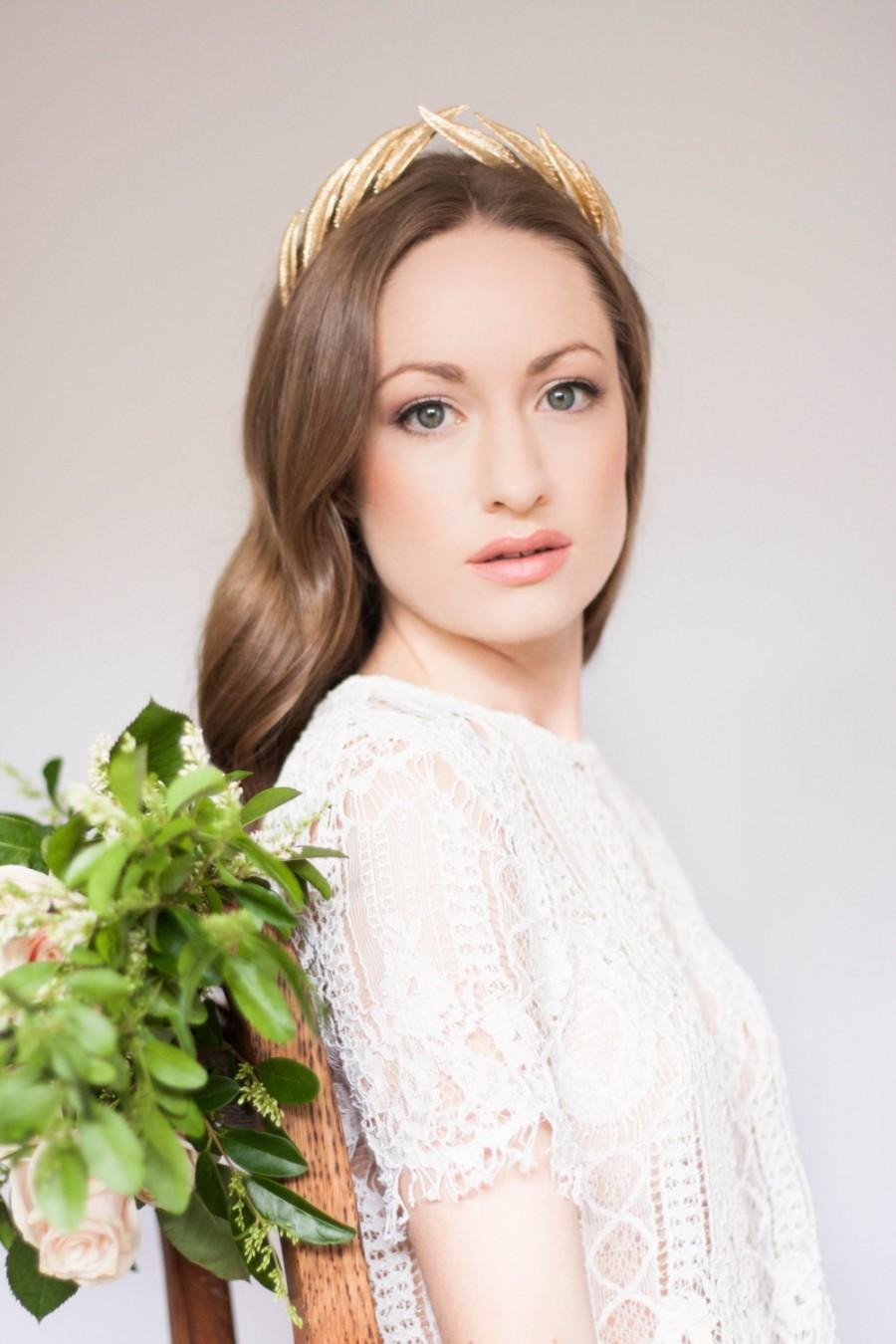 Свадьба - Alethea Leaf Tiara, Gold Tiara, Leaf Halo, Gold Leaf Headpiece, leaf crown, bridal tiara, Gold Leaf Headband, Woodland, boho, fall #147