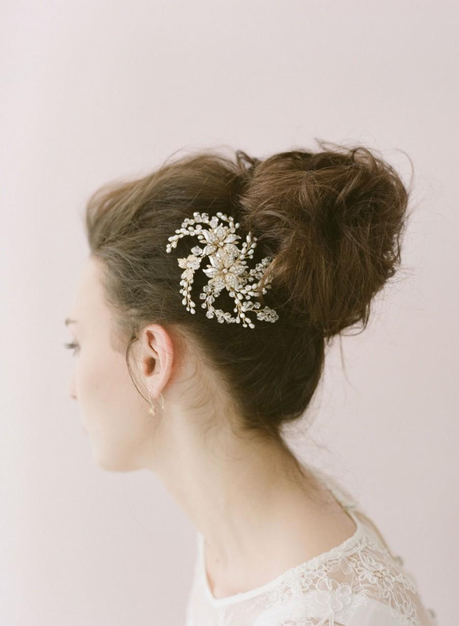 Свадьба - Bridal crystal hair comb, headpiece - Flower, crystal and freshwater pearl spray comb - Style 406 - Ready to Ship