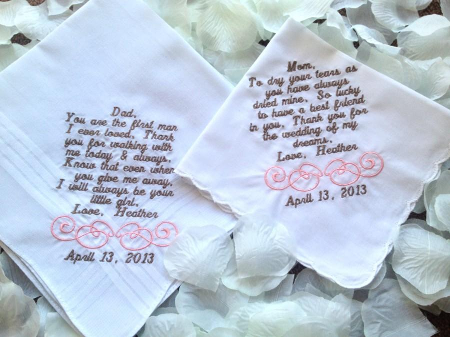 Свадьба - Set of Two Personalized WEDDING HANKIE'S Mother & Father of the Bride Gifts Hankerchief - Hankies you pick thread colors