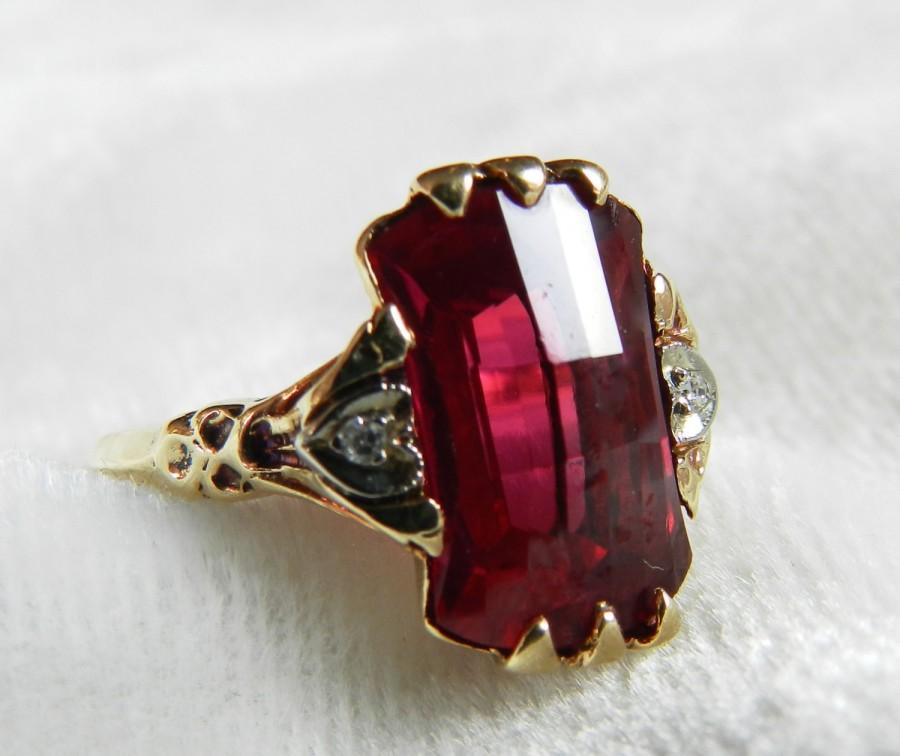 Свадьба - Art Deco Ring Ruby Ring 1920s Lab Grown Ruby Antique Ruby Fancy Checkerboard Cut Engagement Ring July Birthstone Unique Engagement Ring
