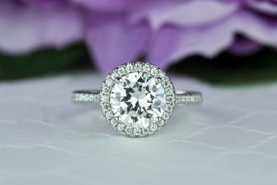 Свадьба - 2.25 ctw Round Classic Halo Wedding Ring, Engagement Ring, Man Made Diamond Simulants, Half Eternity Ring, Bridal Ring, Sterling Silver