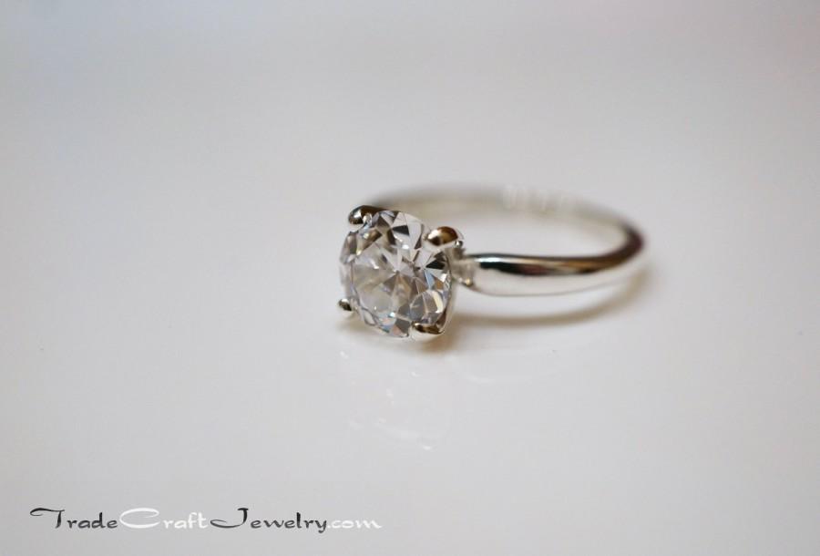 زفاف - Old European Cut CZ Engagement Ring 4 Prong Sterling Silver 0.84-2 Carat OEC Cubic Zirconia Solitaire Promise Ring Diamond Simulant Sz 3-13