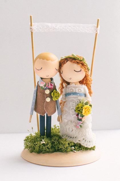 Mariage - Custom Order,Wedding Cake Topper,Cake Topper,Wooden Topper,Wooden Peg Doll,Wedding Gift,Personalized,Boho wedding cake topper