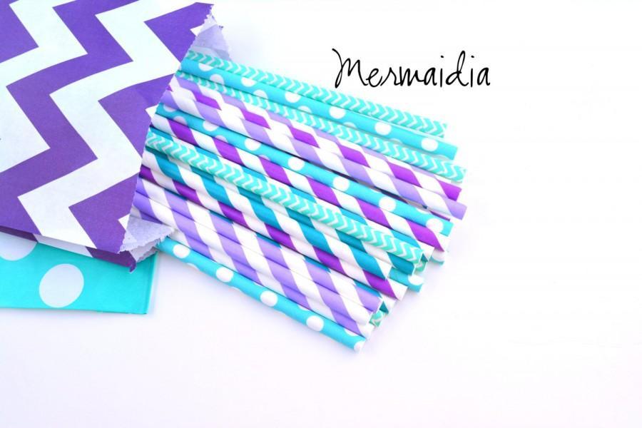 Свадьба - Mermaidia *Mermaid Party -Paper Straws -Blue Straws - Purple Straws -Frozen Party -Aqua Straws -Purple and Blue -Frozen Party Supplies *Elsa