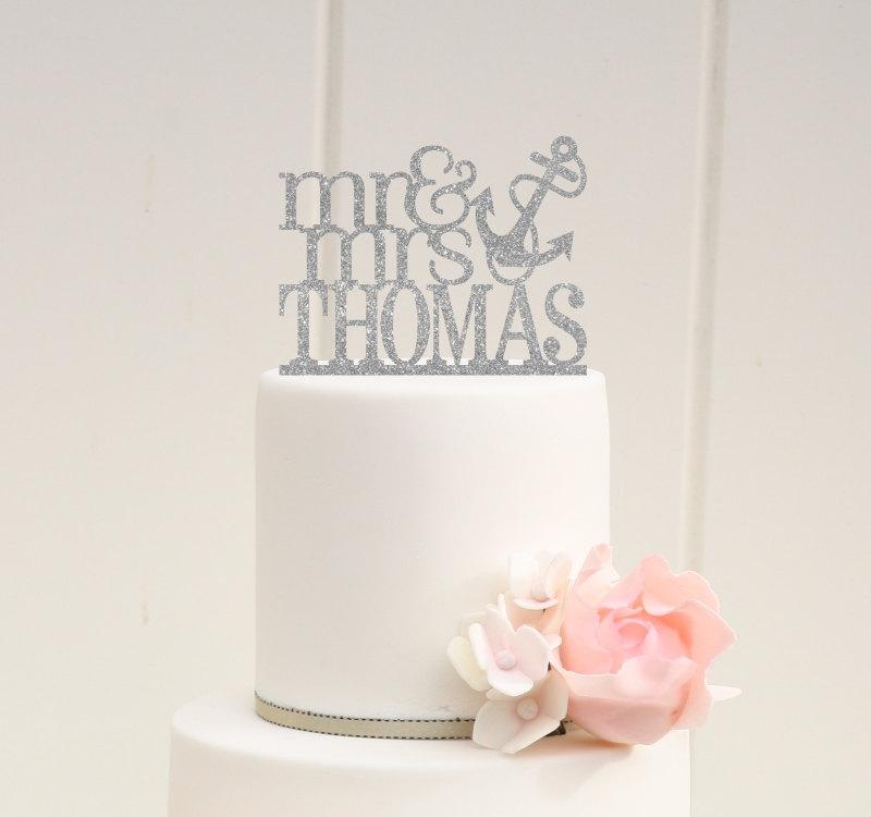Wedding - Glitter Mr and Mrs Wedding Cake Topper with YOUR Last Name Anchor Nautical Beach Cake Topper