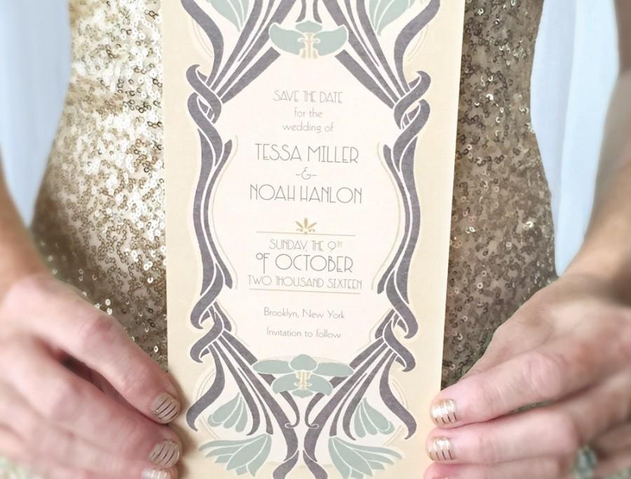 Great Gatsby 20s Save the Date - Art Deco Wedding theme - postcard an ...