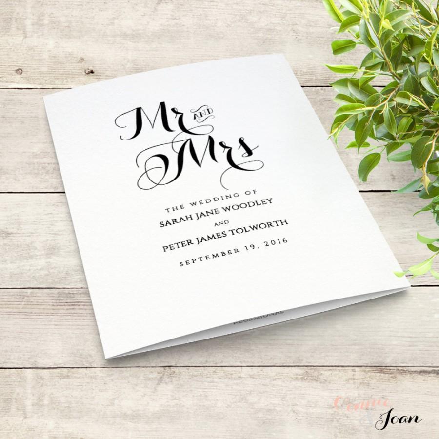 Printable Folded Order Of Service Wedding Program. Byron. Edit ...