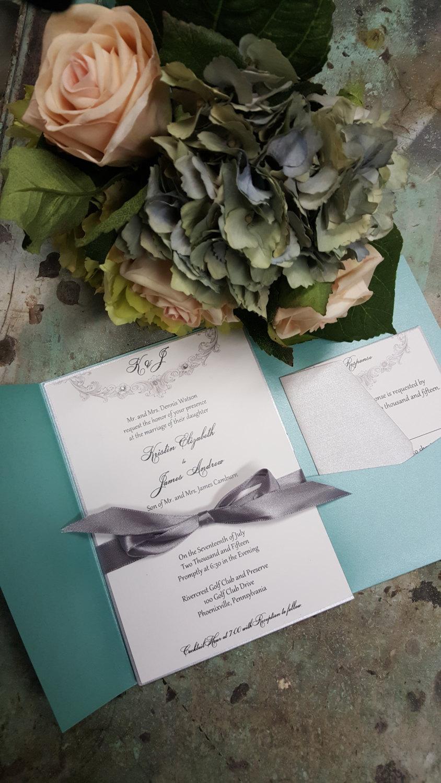 Wedding - Shimmery Elegant Pocket Wedding Invitation by Kim Boyce Designs