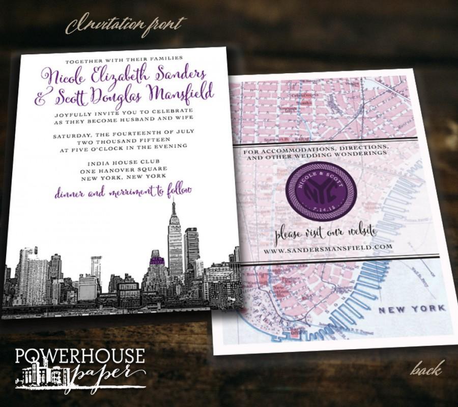 New york city skyline and map wedding invitation 2533845 for Wedding invitation companies nyc