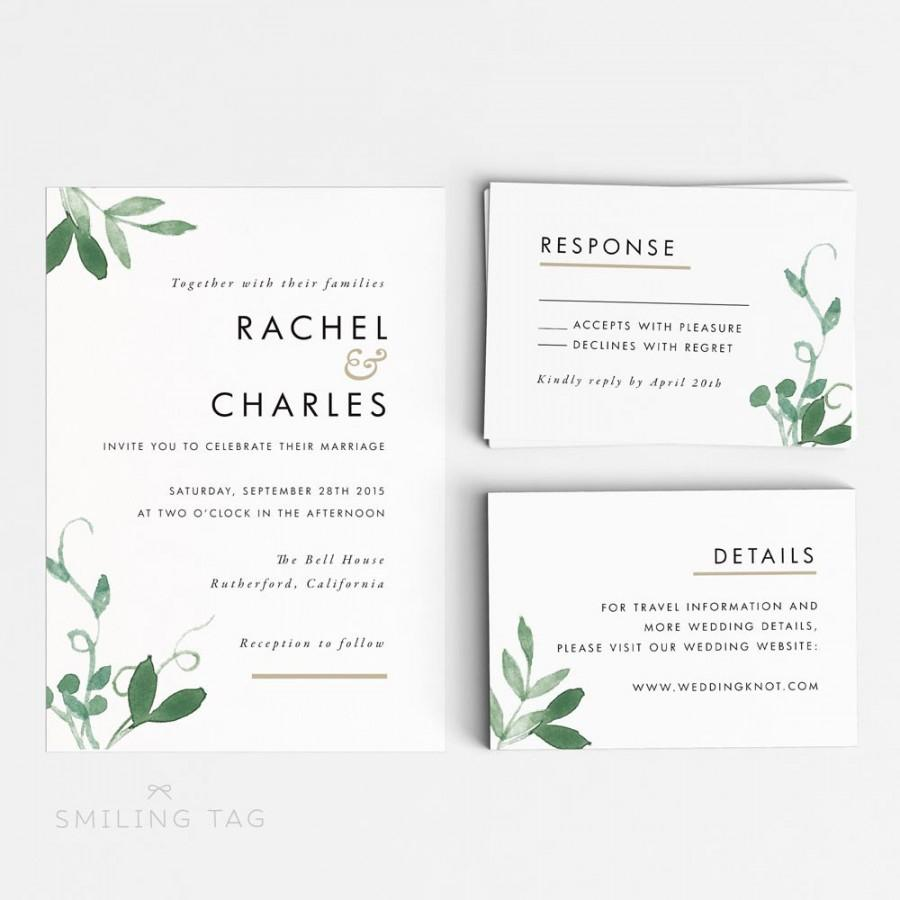 Printable Wedding Invitation Set - Modern Botanical Wedding ...