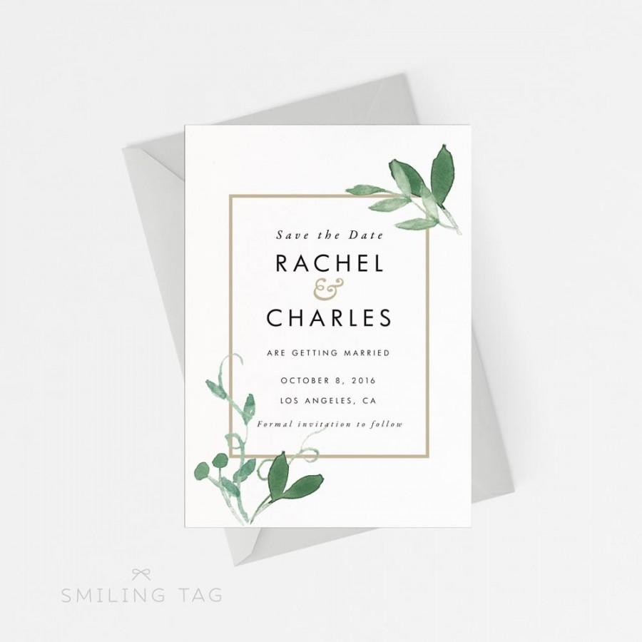 Wedding - Printable Save The Date Printable - Modern Botanical Save the Date Printable - Wedding Invites PDF - Letter or A4 Size (Item code: P128)