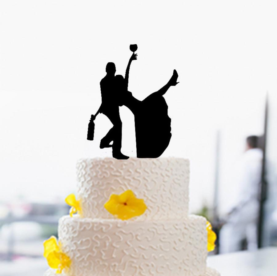 Funny Wedding Cake Topper Silhouette Drinking Bride And Groom Unqiue For 53549