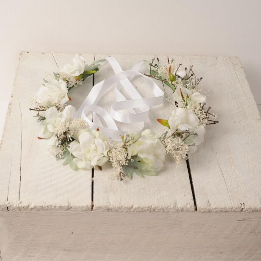 Wedding Floral Headband Sage Green And White Head Piece Woodland