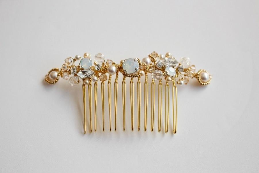 Hochzeit - Opal White and Gold Vintage Inspired Bridal Haircomb  - Opal Crystal Bridal Gold Haircomb - Wedding Crystal Bun Ornament, hair adornement
