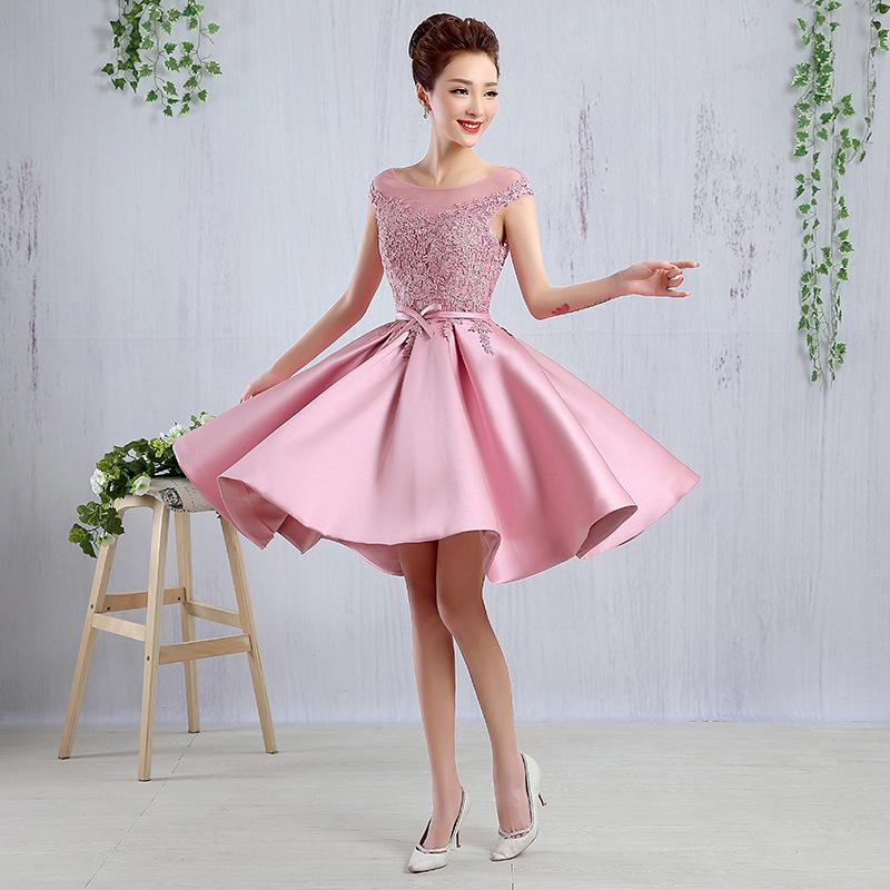 796a120885 2016 New Short Cap Sleeves Lace Appliques Lace Up Back Party Bridesmaid  Homecoming Cocktail Prom Evening Dress With Stain Belt