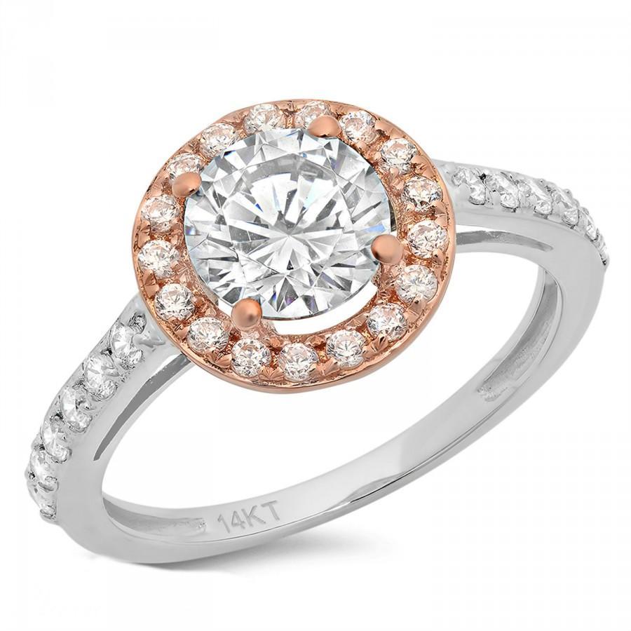 زفاف - Engagement Ring 2.35 CT Round Cut halo 14k White/Rose Gold Bridal band , anniversary ring, promise ring, bridal ring, unique ring, rose gold