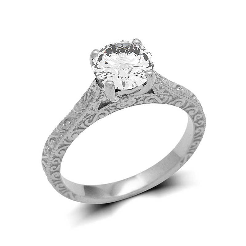 زفاف - Vintage Style 18k White Gold Diamond Engagement Ring