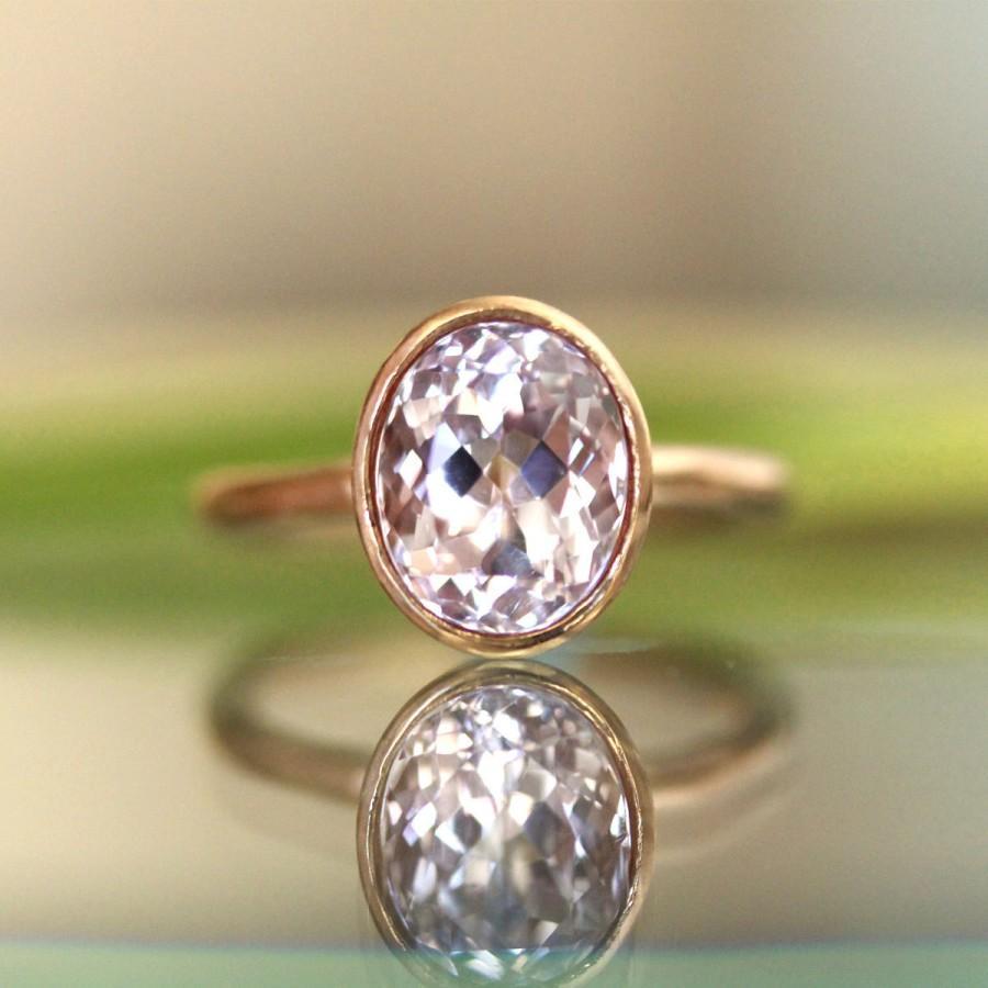 زفاف - Kunzite 14K Gold Engagement Ring, Gemstone Ring, Stacking Ring,  - Made to Order