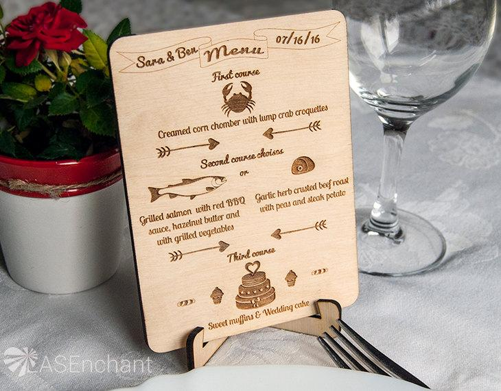 set of rustic wood wedding menu cards with stands set of