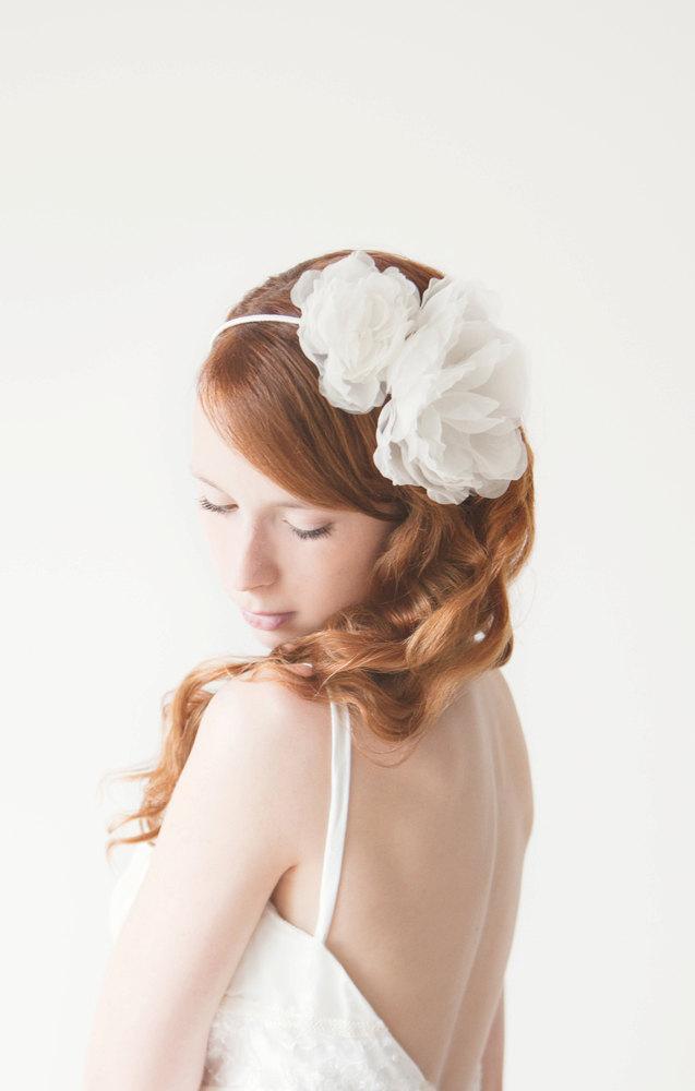Wedding - Wedding Headband, Floral headband, Bridal, Head piece, ivory - Forever Love