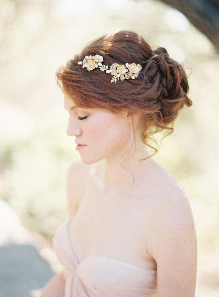 Wedding - Floral Bridal Hair comb with Crystals Wedding Headpiece- Style 208