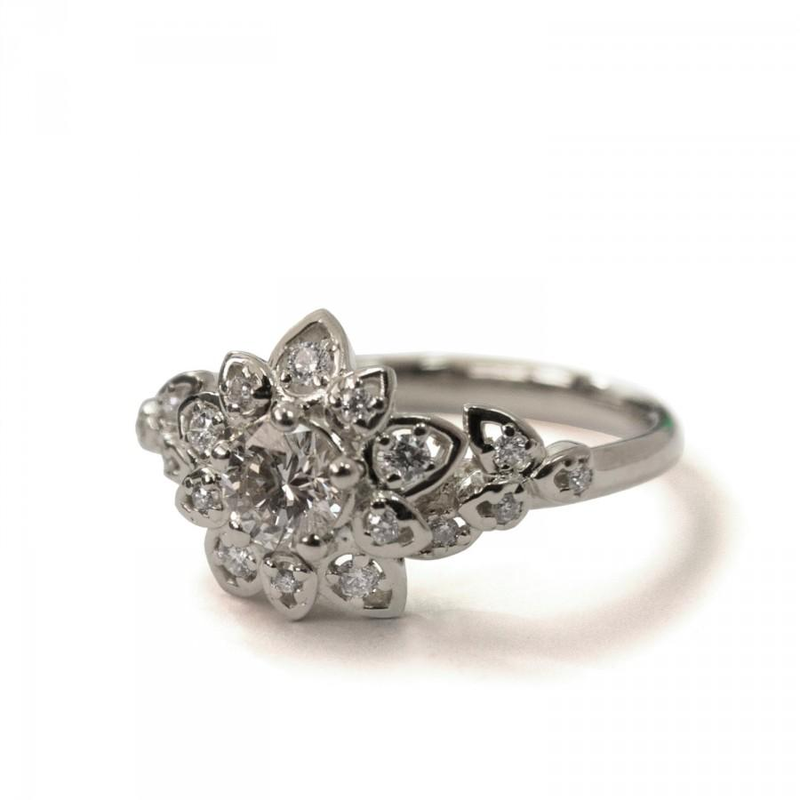 Gia Certified Art Deco Petal Engagement Ring 14k White Gold And