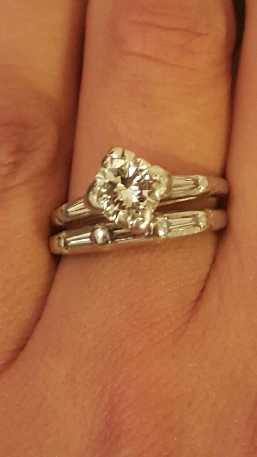 vintage platinum and diamond wedding band engagement ring set