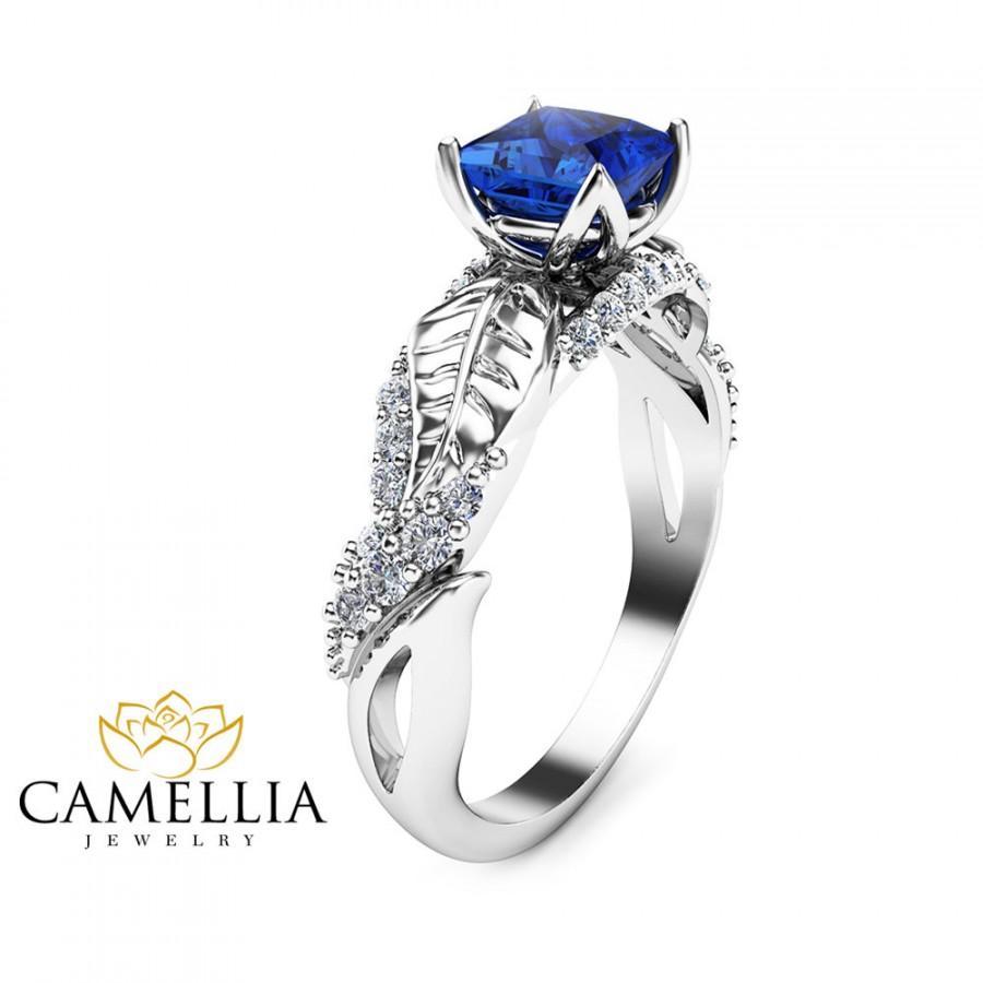 زفاف - Natural Princess Sapphire Engagement Ring 14K White Gold Sapphire Ring Leaf Engagement Ring
