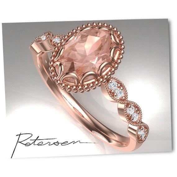 Wedding - Floral Morganite Engagement Ring in 14k Rose Miligran Gold Diamond Ring 8x6mm Oval Morganite Engagement Ring (Bridal Set Available)