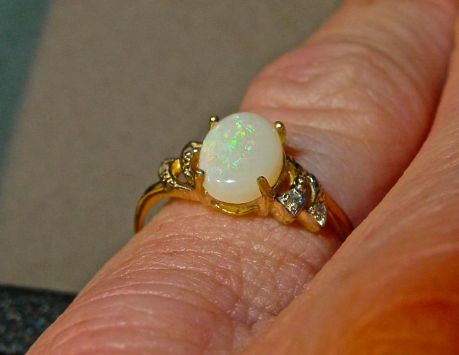 Opal & Diamond Ring 10K Solid Gold Genuine Solid White Opal Vintag