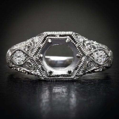 Vintage Engraved Diamond Wedding Band With Milgrain Detail: Art Deco Engraved Filigree & Milgrain Diamond Mount 14K