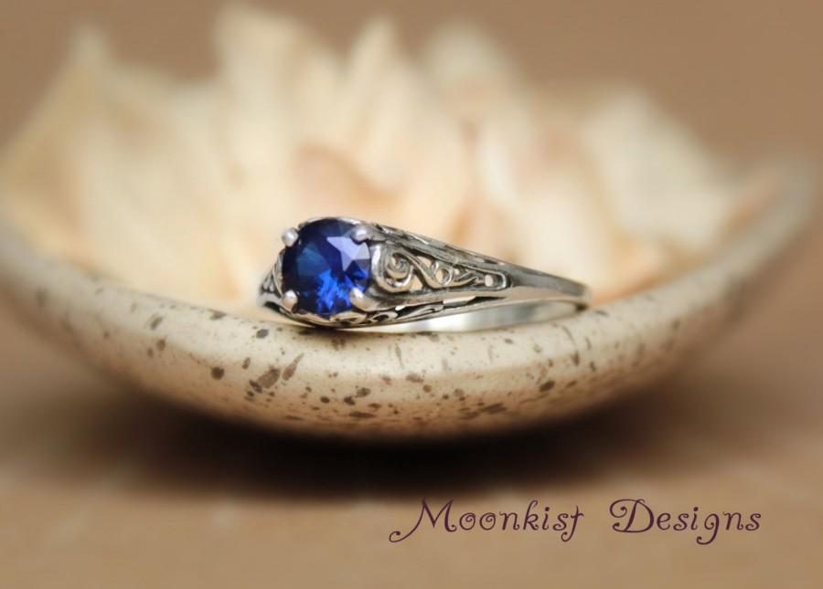 Mariage - Filigree Blue Sapphire Promise Ring in Sterling Silver - Unique  Victorian-style Engagement Ring in Blue Sapphire - September Birthstone