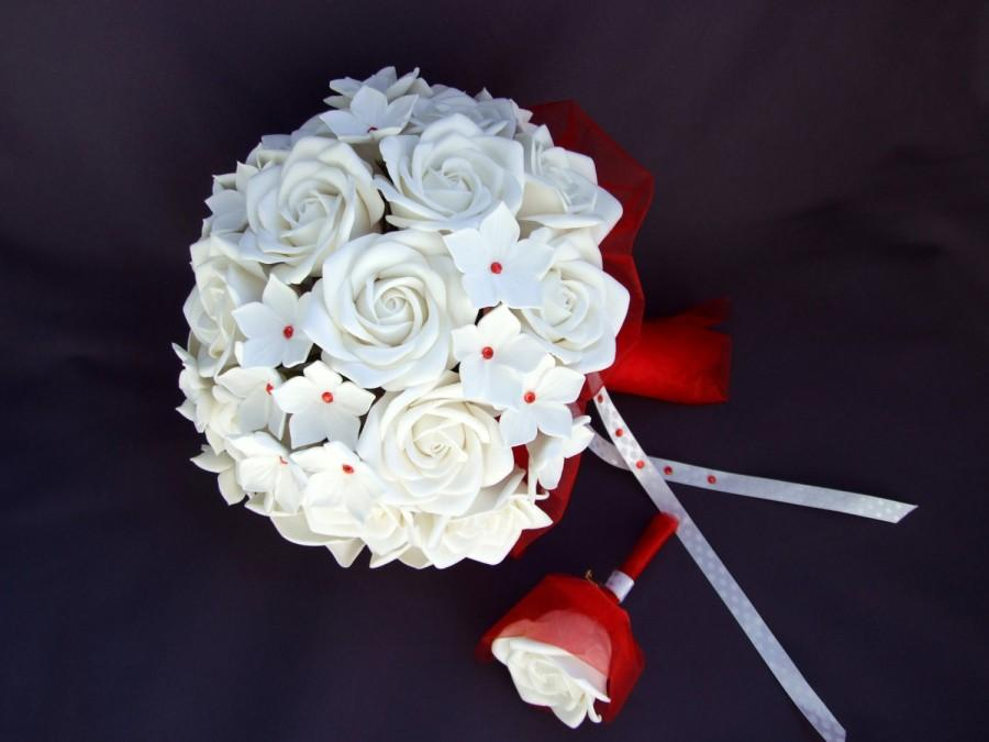 Mariage - Alternative bouquet and buotonniere set, wedding bouquet, bouquet of handmade bridal bouquet, bouquet of polymer clay, white roses