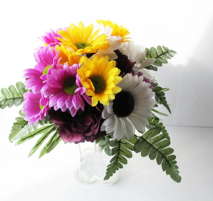 Colorful Silk Flowers Bouquet Sunflowers Peonies Gerberas Bouquet