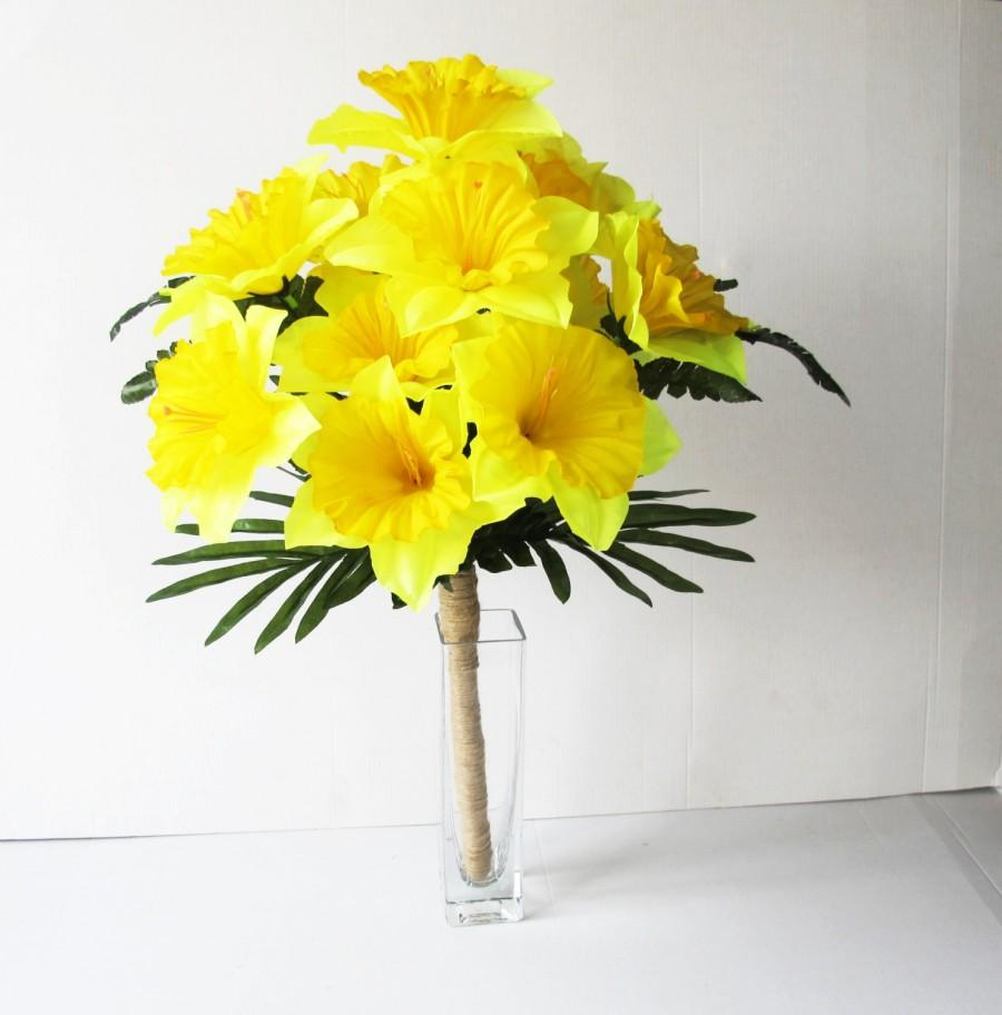 Yellow silk daffodils flowers bouquet narcissus green bouquets yellow silk daffodils flowers bouquet narcissus green bouquets wedding bouquets artificial flowers country rustic spring flowers jute mightylinksfo