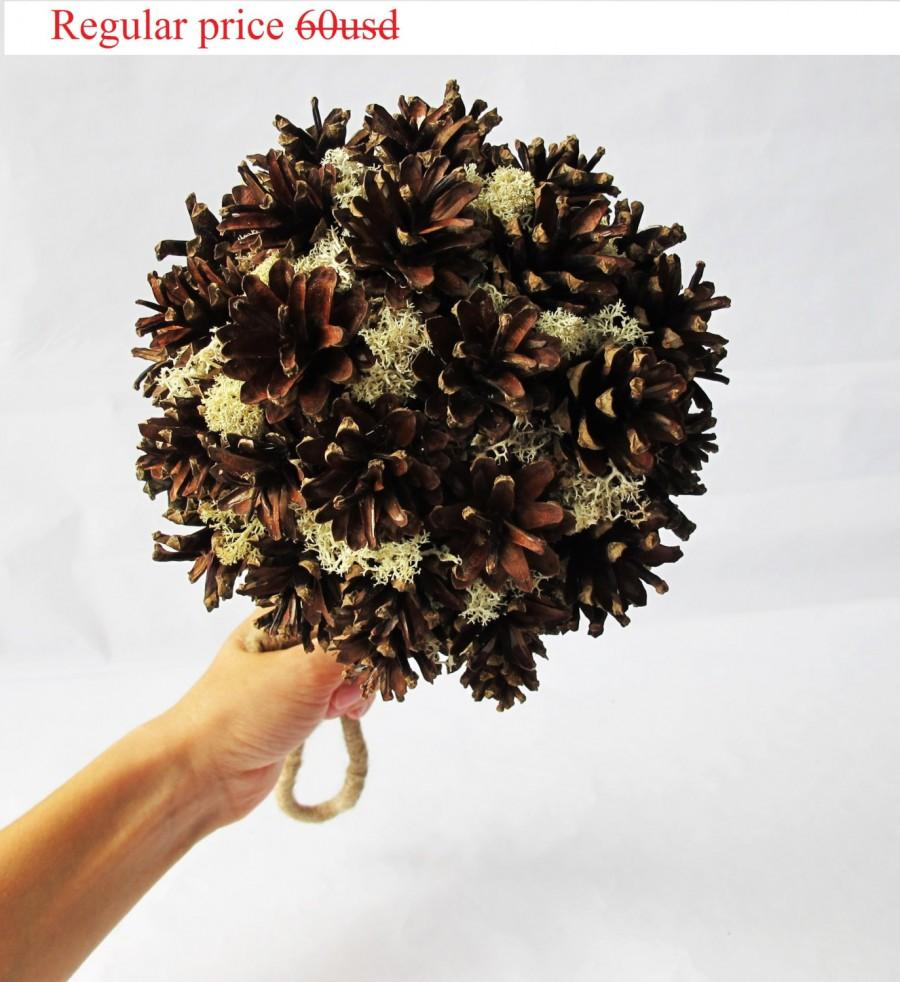 Grand sale wedding bouquet grey brown pine cone big ball moss jute grand sale wedding bouquet grey brown pine cone big ball moss jute bridal ball bouquets home decor rustic wedding accessories country table junglespirit Images