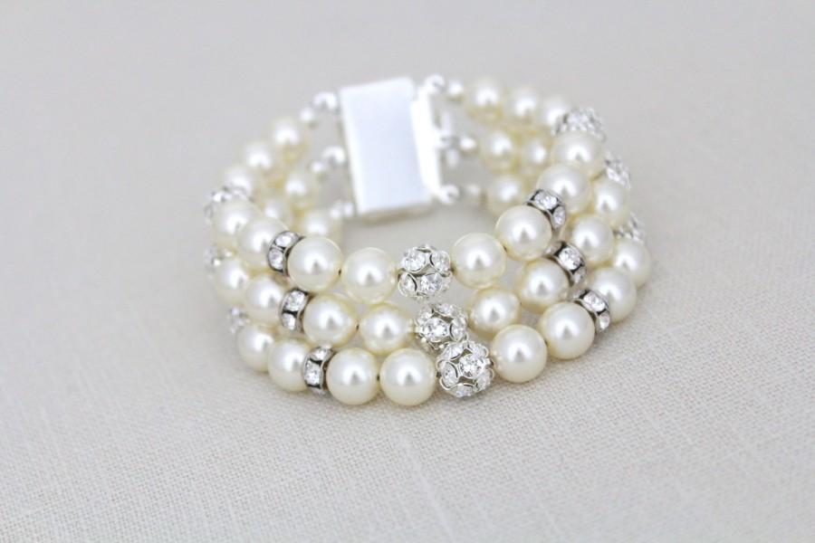 Pearl Wedding Bracelet Crystal Bridal Jewelry Swarovski Cuff Rhinestone Statement