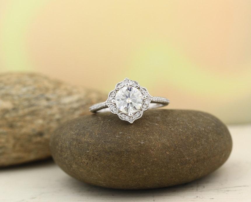 زفاف - Moissanite Engagement Ring Set  Diamond Wedding Set Vintage Floral Ring Set In 14k White Gold , Rose Gold,Yellow Gold  7mm Round Gem1224