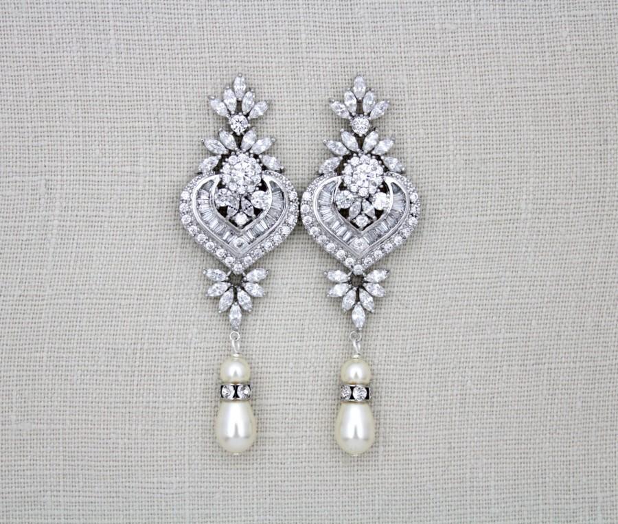 Свадьба - Crystal Bridal earrings, Statement Wedding earrings, Long Bridal earrings, Bridal Jewelry, Swarovski crystal earrings Art Deco earrings EMMA