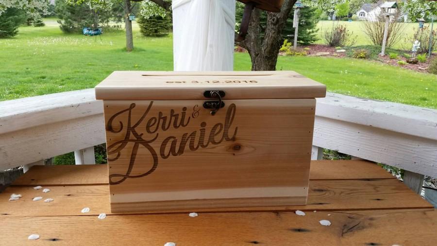 Hochzeit - Wood Card Box, Large Card Box, Rustic Wedding, Wedding Cards, Laser engraved Wedding card Box, Wedding Decor, card box