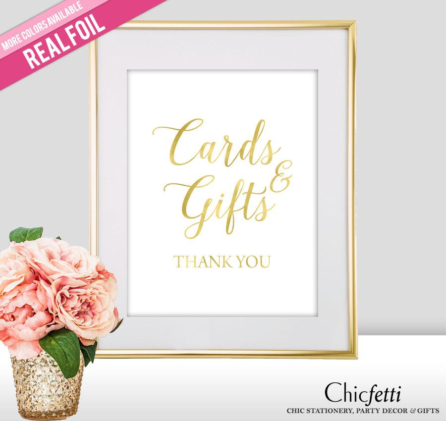 Hochzeit - Cards and Gifts Wedding Sign - Real Gold Foil, Rose Gold Foil, Silver Foil - Wedding Signs - Gold Wedding Signs - Gold Wedding Decor (FS2)