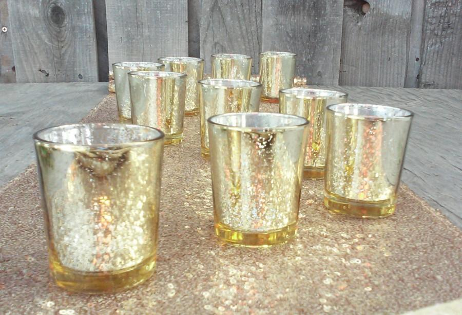 Mariage - 12 Gorgeous Glittery & Gold Mercury Glass Candle Holders ~ Gold Votive Holders ~ Tealight Holder ~