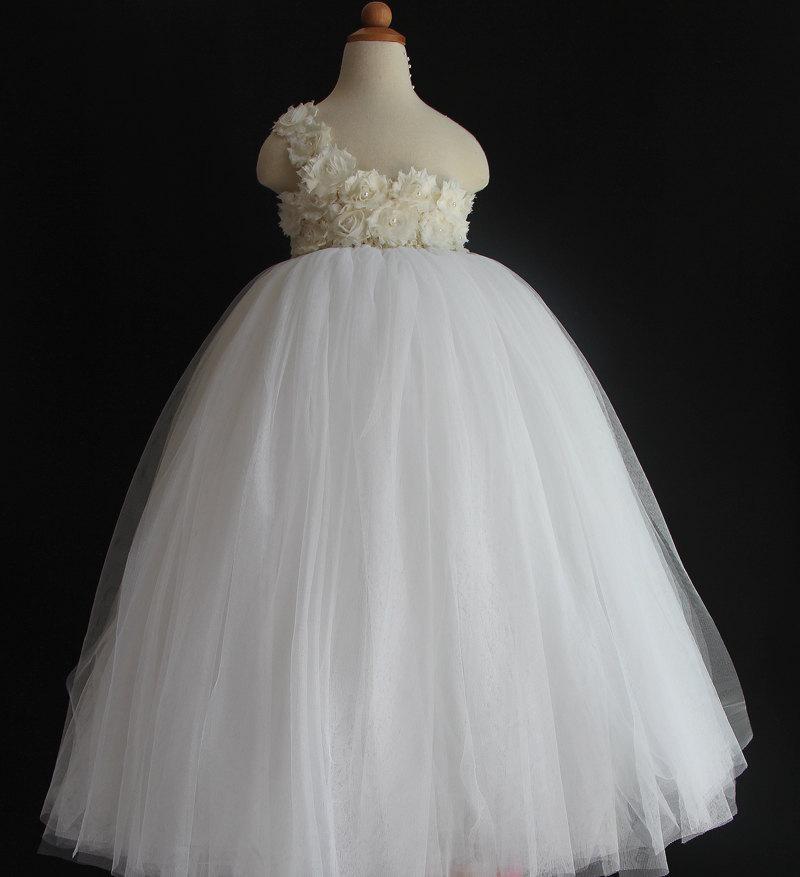 زفاف - Rustic Ivory Flowers White Flower Girl Dress Shabby Flowers Dress Tulle Dress Wedding Dress Birthday Dress Toddler Tutu Dress 1T 2T 3T 4T 5T