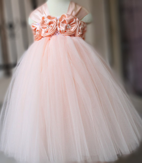 Hochzeit - TUTU Flower girl dress Peach Tutu dress Wedding dress Birthday dress Party Dress Newborn 2T to 8T