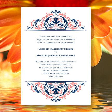 "Printable Wedding Invitation Template ""Grace"" Coral Reef & Marine Navy Blue"